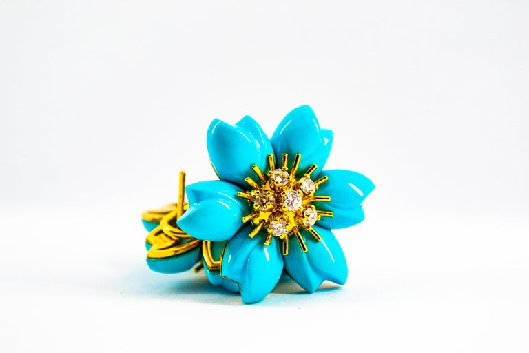0.60 Carat White Diamond Turquoise Yellow Gold Dangle Clip-On Flowers Earrings For Sale 12