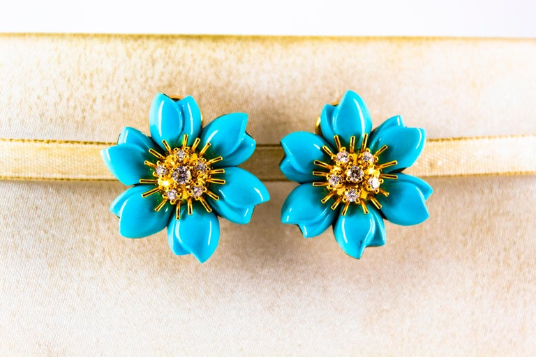 Women's or Men's 0.60 Carat White Diamond Turquoise Yellow Gold Dangle Clip-On Flowers Earrings For Sale