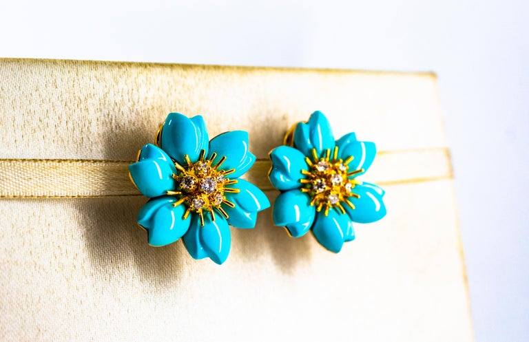 0.60 Carat White Diamond Turquoise Yellow Gold Dangle Clip-On Flowers Earrings For Sale 1