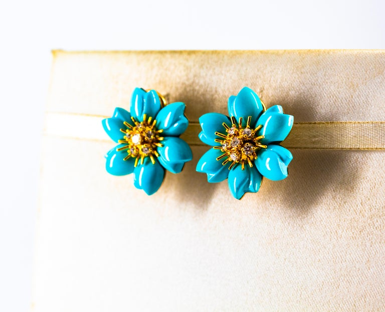 0.60 Carat White Diamond Turquoise Yellow Gold Dangle Clip-On Flowers Earrings For Sale 3
