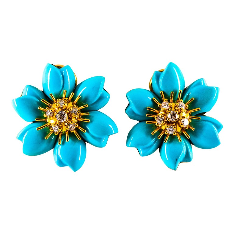 0.60 Carat White Diamond Turquoise Yellow Gold Dangle Clip-On Flowers Earrings For Sale