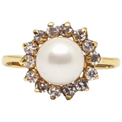 0.60 Carat Yellow Gold Diamond Pearl Ring
