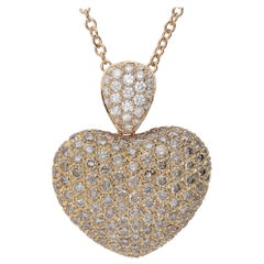 0.60 White GVS 3.79 Brown Diamonds 18 Karat Pink Gold Dome Heart Necklace