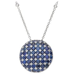 0.60 White GVS Diamonds 4.83 Blue Sapphires 18 Karat Gold Dome Circle Necklace