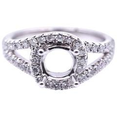 0.61 Carat Diamond 14 Karat White Gold Semi-Mount Engagement Ring
