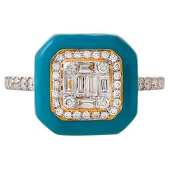 0.61 Carat Diamond Baguette Enamel Ring