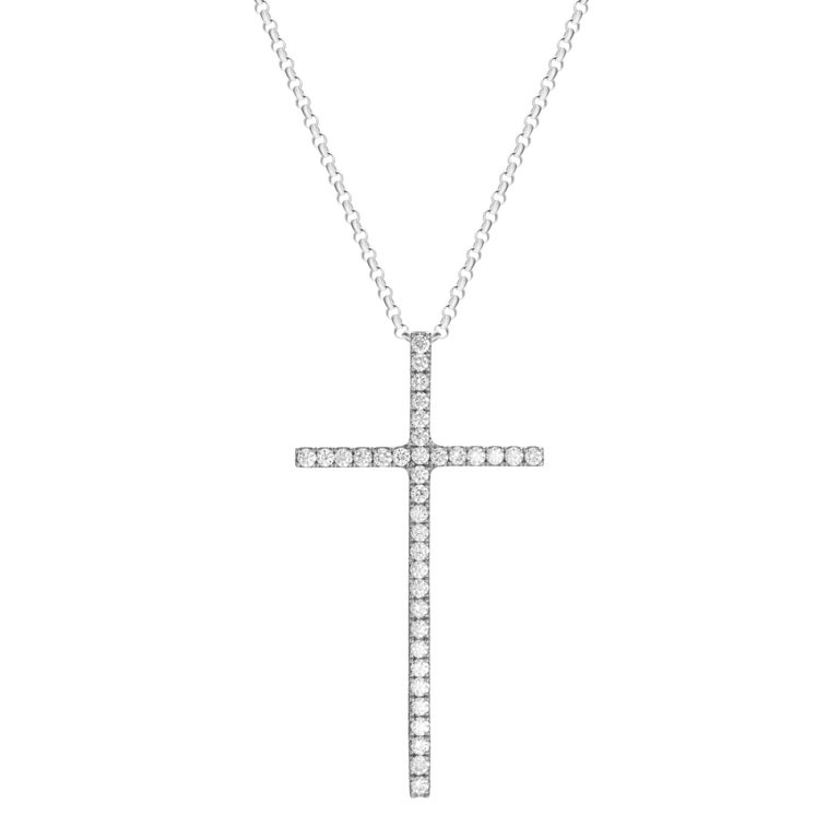 18-karat white gold necklace features a cross pendant accented by 0.61 carats of round brilliant cut diamonds.  Chain length 18 inches.  Pendant height 4cm, pendant width 2.1cm.  Also available in rose gold.  Composition: 18K White Gold 36 Round