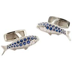 Susan Lister Locke 0.61ct Sapphire Bluefish & 18K Palladium White Gold Cufflinks