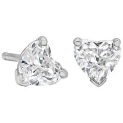 0.61 Carat Total Heart Shape Stud Earrings