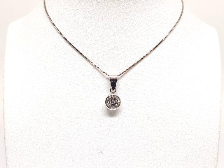Contemporary 0.61 Carat White Gold Necklace Diamond Solitaire Pendant For Sale