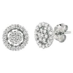 0.61 Ct Natural Diamond Earrings G SI 14K White Gold