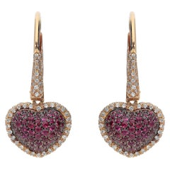 0.61 Rubies 0.41 White Gvs Diamonds 18 Karat Pink Gold Hearts Dangles Earrings