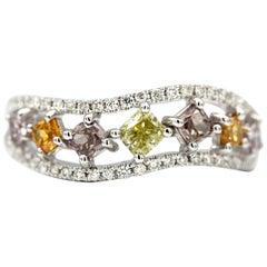 0.62 Carat 7 Multicolored Diamonds 18 Karat White Ring