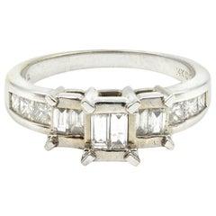 0.62 Carat Baguette/Princess Cut Diamond 14 Karat White Gold Ring