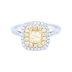 0.62 Carat Cushion Yellow Diamond White Diamond Halo Ring