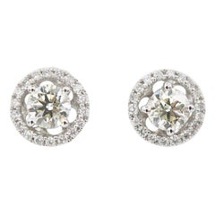 0.62 Carat Diamond 18 Karat Gold Studs with Diamond Halo Jackets