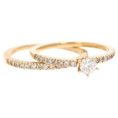 0.62 Carat Diamond Wedding Set 14 Karat Yellow Gold