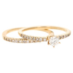 0.62 Carat Diamond Wedding Set 14 Karat Yellow Gold