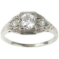 0.62 Carat Diamond White Gold Ring