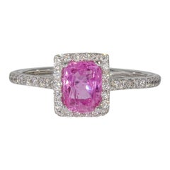 0.62 Carat Pink Sapphire and Diamond Engagement Ring