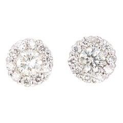 0.62 Carat Round Diamond Floret Design 14 Karat White Gold Stud Earrings