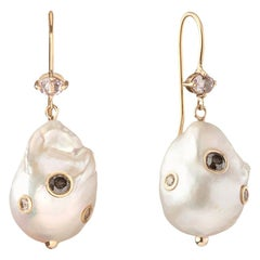 0.62 Carat Salt and Pepper Diamond 0.45 Carat Morganite Baroque Pearl Bridal Ear
