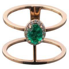 0.62 Emerald Rose Gold 18 Karat Ring Fashion Band Ring