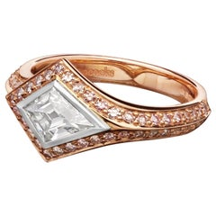 Hancocks 0.62ct Rare Kite Shape Fancy Gray-Blue Diamond & Pink Diamond Ring