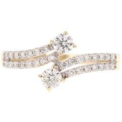 0.63 Carat Diamond 14 Karat Yellow Gold Two-Stone Ring