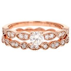 0.63 Carat Diamond Wedding Set 14 Karat Rose Gold
