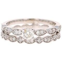 0.63 Carat Diamond Wedding Set 14 Karat White Gold