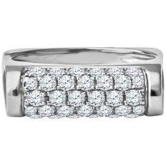 0.63 Carat Pave Diamond 18 Karat White Gold Bar Ring