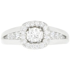 0.63 Carat White Diamond Halo Engagement Ring
