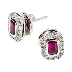 0.63 Ct Ruby 0.31 Ct Diamonds 18kt White Gold Fine Stud Earrings