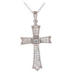 0.64 Carat Diamond Cross Pendant with Chain in 14 Karat White Gold