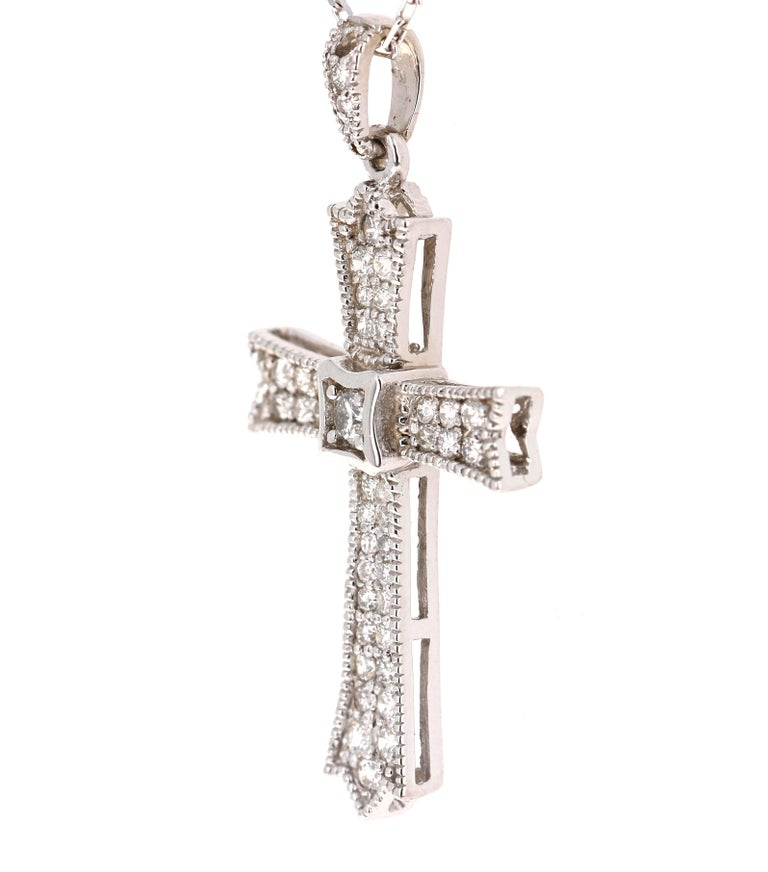 Modern 0.64 Carat Diamond Cross Pendant with Chain in 14 Karat White Gold For Sale
