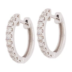 0.64 Carat Diamond Huggies, Mini Diamond Hoop Earrings in 14 Karat White Gold
