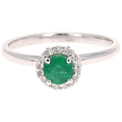 0.64 Carat Emerald Diamond White Gold Cluster Ring
