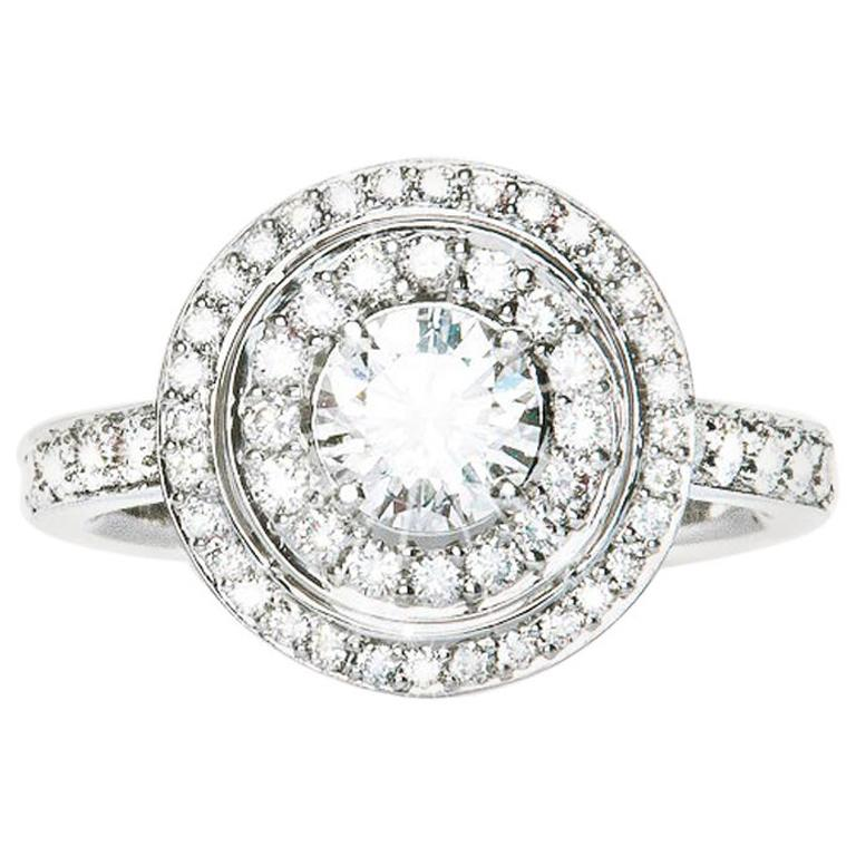 0.64 Carat F SI1 Round Diamond Double Cluster Ring Natalie Barney