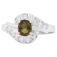 0.64 Carat Natural Color Changing Alexandrite and Diamond Ring 18K White Gold