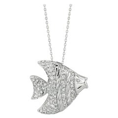 0.64 Carat Natural Diamond Fish Pendant Necklace 14 Karat White Gold Chain