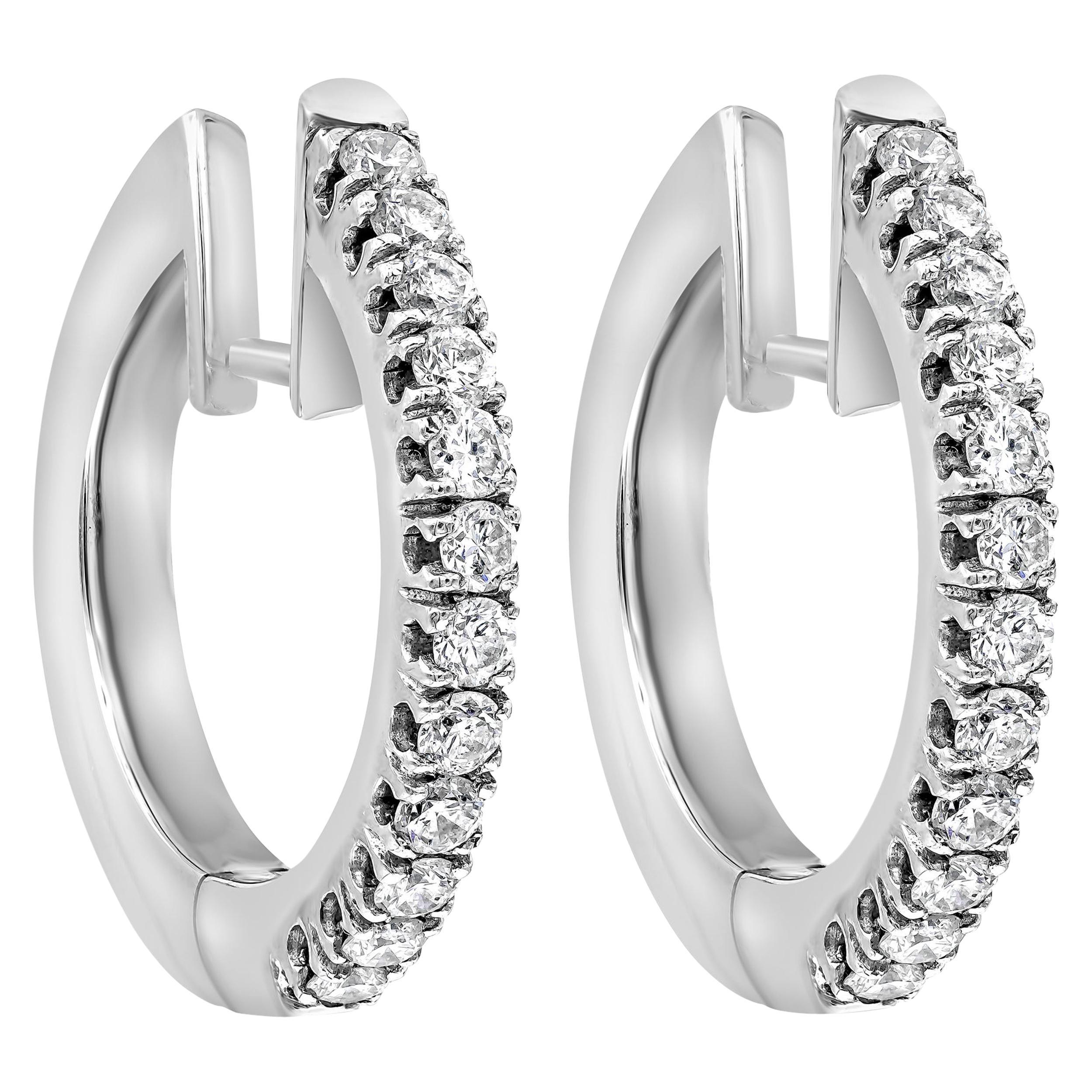 Roman Malakov, 0.64 Carat Round Diamond Hoop Earrings in 18 Karat White Gold