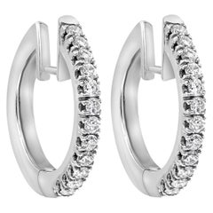 0.64 Carat Round Diamond Hoop Earrings in 18 Karat White Gold