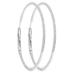 0.64 Carat Single Cut Diamond Hoop Earrings in 18 Karat White Gold