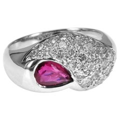 0.64 Carat Vivid Red Pear Shape Ruby and 1.05 Carat Diamond 18K White Gold Ring