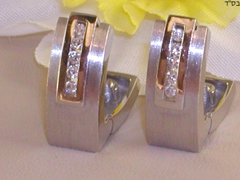 Women's 0.64 Carat White Gold Diamond Earrings Necklace Pendant Set For Sale