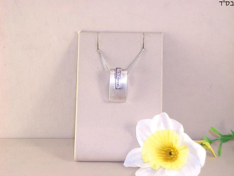 0.64 Carat White Gold Diamond Earrings Necklace Pendant Set For Sale 2