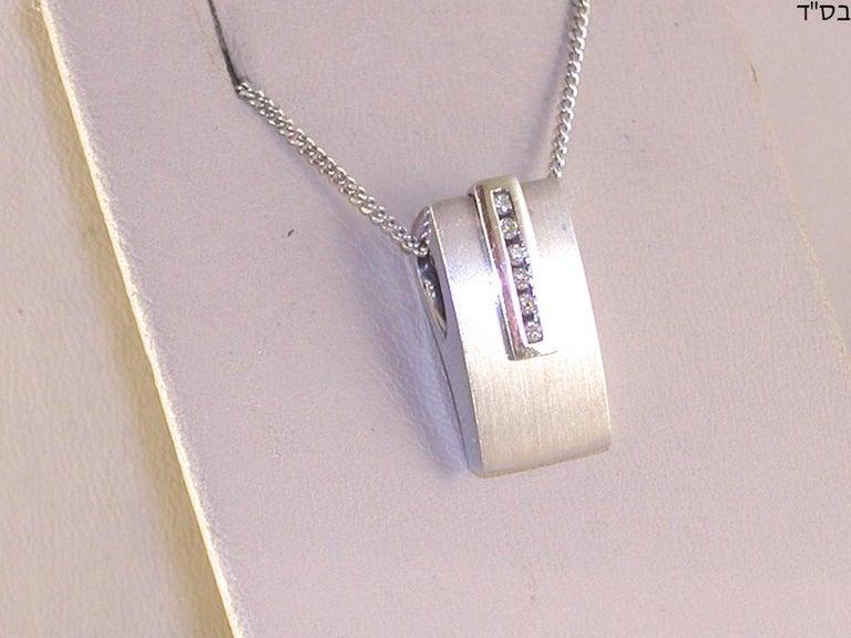 0.64 Carat White Gold Diamond Earrings Necklace Pendant Set For Sale 3