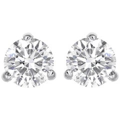 0.64 Total Carat Weight Round Brilliant Cut Diamond Stud Earrings
