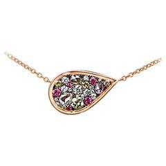 0.645 Carat Brilliant, and Rose-Cut Diamond Pendant with 18 Karat Gold Necklace